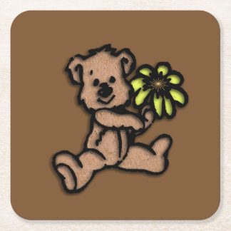 Daisy Bear Design Brown Square Paper Coaster