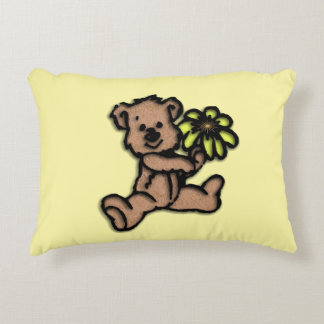 Daisy Bear Design Yellow Accent Pillow