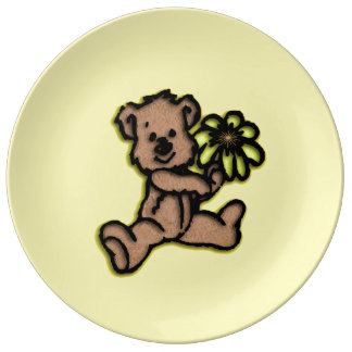 Daisy Bear Design Yellow Porcelain Plates
