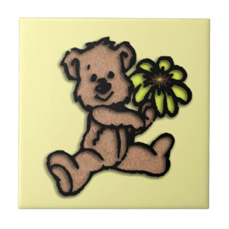 Daisy Bear Design Yellow Tile