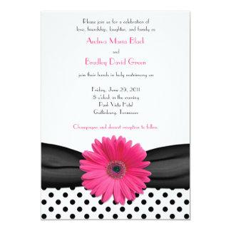 Daisy Black White Polka Dot Wedding Invitation