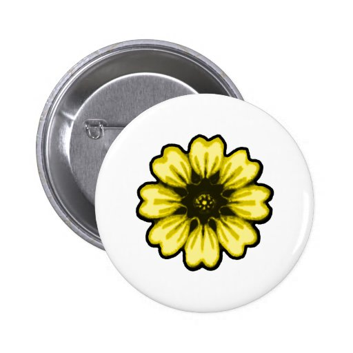 Daisy Black Yellow transp The MUSEUM Zazzle Gifts Buttons