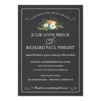 "Daisy Bouquet on Chalkboard Wedding Invitations 5"" X 7"" Invitation Card"