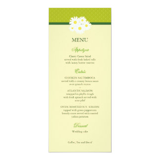 Daisy Bouquet Wedding Menu Card