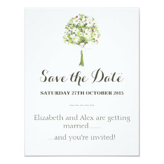 "Daisy Bouquet White Wedding Save the Date card 4.25"" X 5.5"" Invitation Card"