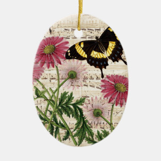daisy Butterfly Music Ceramic Ornament
