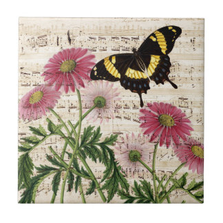 daisy Butterfly Music Ceramic Tiles