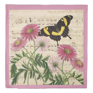 Daisy Butterfly Music Duvet Cover