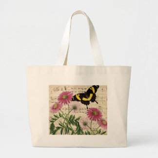 daisy Butterfly Music Large Tote Bag
