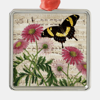 daisy Butterfly Music Metal Ornament