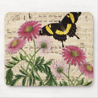 daisy Butterfly Music Mouse Pad