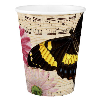 daisy Butterfly Music Paper Cup