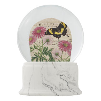 Daisy Butterfly Music Snow Globe