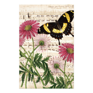 daisy Butterfly Music Stationery