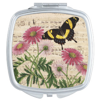 Daisy Butterfly Music Travel Mirror