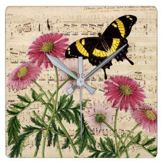 Daisy Butterfly Music Wallclocks
