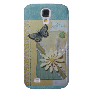 Daisy & butterfly on teal/yellow