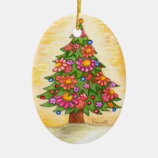 Daisy Christmas Tree Ceramic Ornament