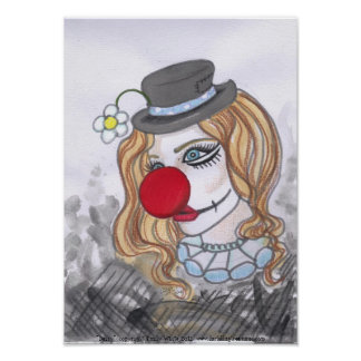 Daisy Clown Girl Portrait fantasy art poster print