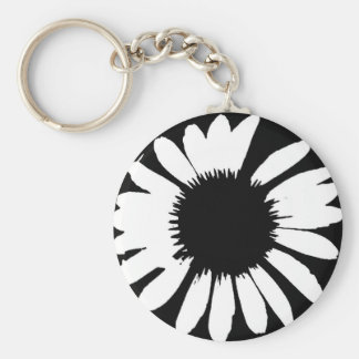 Daisy Crazy - Black & White Daisy Basic Round Button Keychain