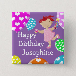 Daisy Cupcake And Balloons Happy Birthday 2 Inch Square Button