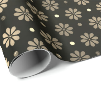 Daisy Dots Faux Sepia Gold  Floral Black Elegant Wrapping Paper
