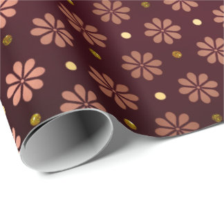 Daisy Dots Pink Rose Gold  Floral Burgundy Maroon Wrapping Paper