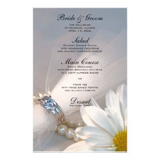 Daisy Elegance Wedding Menu Stationery Design