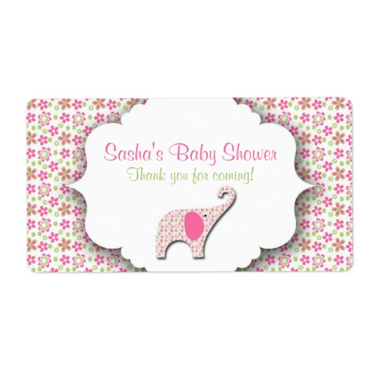 Daisy Elephant Baby Shower Water Bottle Label