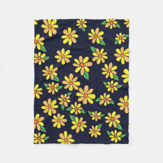 Daisy Floral Pattern Fleece Blanket