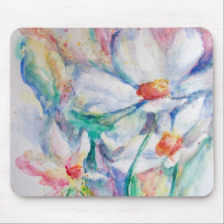 Daisy Floral Watercolor Painting - Mouse Pad