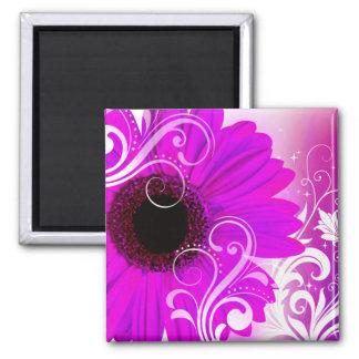 """Daisy Flourish"" by Cheryl Daniels (fuschia) Magnet"