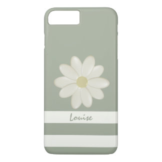 Daisy Flower Cream Stripes Sage Personalized iPhone 8 Plus/7 Plus Case