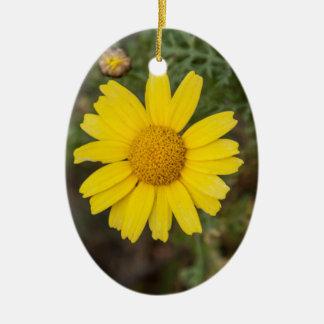 Daisy flower cu yellow ceramic ornament