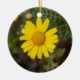 Daisy flower cu yellow ceramic ornament