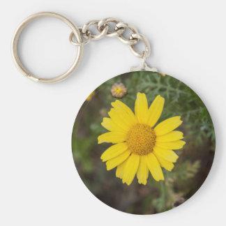 Daisy flower cu yellow keychain