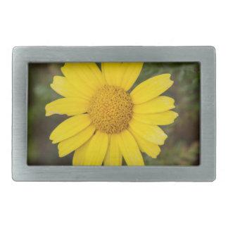 Daisy flower cu yellow rectangular belt buckle