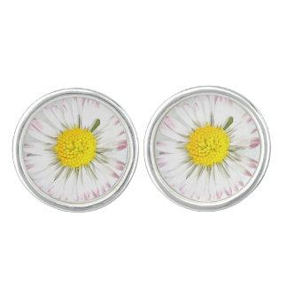 Daisy Flower Cufflinks Silver Plated