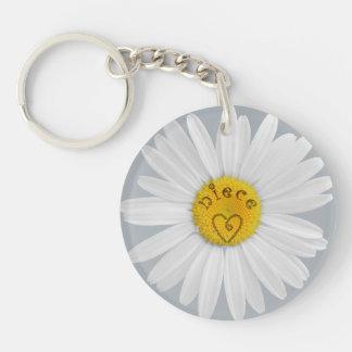 Daisy Flower For Niece Art Customize Background Single-Sided Round Acrylic Keychain