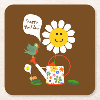 Daisy Flower Garden Girl Birthday Party Square Paper Coaster