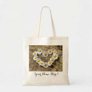 Daisy Flower Heart Tote Bag