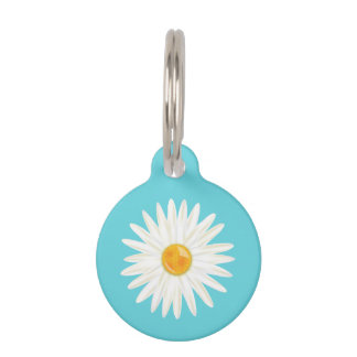 Daisy Flower Illustrated On Blue With Pet's Info Pet Tag
