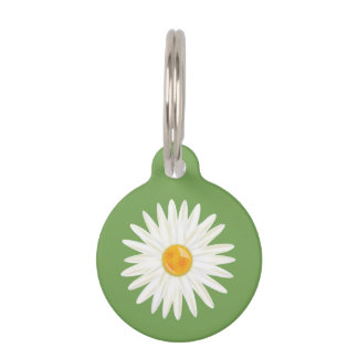 Daisy Flower Illustrated On Green With Dog's Info Pet Tag