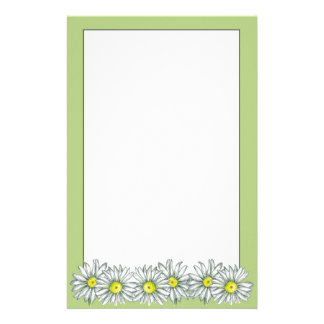 Daisy Flower Lime Green Letter Writing Paper Stationery