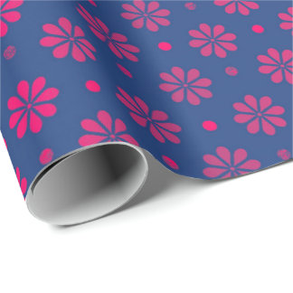 Daisy  Flower Pink Blue Purple Morning Meadow Dots Wrapping Paper