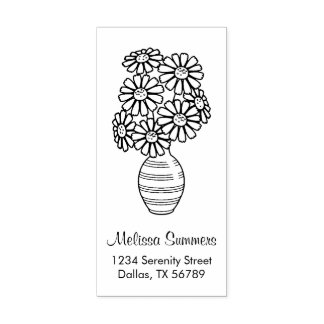 Daisy Flowers Bouquet Vase Address Rubber Stamp