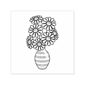 Daisy Flowers Bouquet Vase Self-inking Stamp