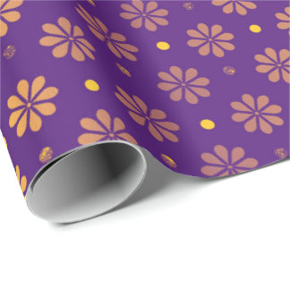 Daisy  Flowers Coral Purple Morning Meadows Metal Wrapping Paper