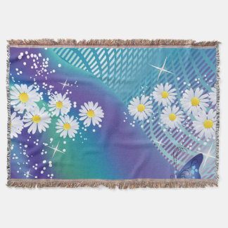 Daisy flowers-on Blue background Throw Blanket