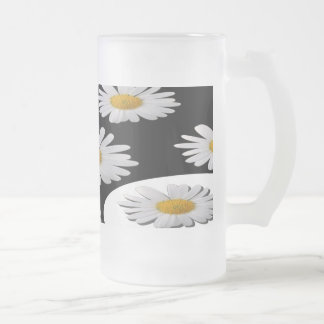 Daisy Frosted Glass Beer Mug
